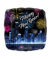 "18"" New Years Skyline & Fireworks Balloon Packaged"