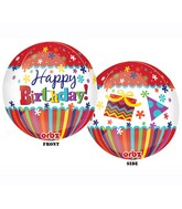 "16"" Happy Birthday Stripes & Bursts Orbz Balloons"