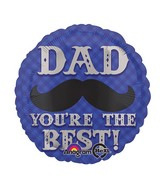 "18"" Dapper Dad Mustache Mylar Balloon"