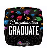 "28"" Square Graduation Black Balloon"