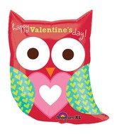 "27"" SuperShape Happy Valentine&#39s Day Owl Balloon"