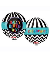"16"" Dancing Lines Happy Birthday Orbz Balloons"