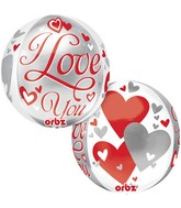 "16"" Orbz I Love You Floating Hearts Balloon Packaged"