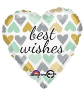 "18"" Metallic Hearts Best Wishes Mylar Balloon"