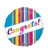 "21"" ColorBlast Congrats! Multi Design Stripe Balloon"