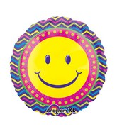 "21"" ColorBlast Smiley Blast Balloon Packaged"
