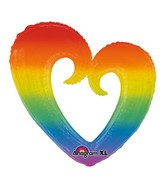 "32"" SuperShape Rainbow Open Heart Balloon Packaged"
