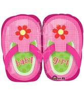 "22"" Baby Girl Pretty Pink Shoes Mylar Balloon"