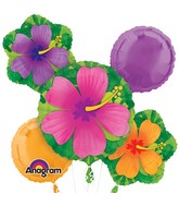Bouquet Tropical Hibiscus Balloon Packaged