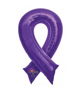 "36"" SuperShape Purple Cause Ribbon Balloon"