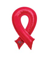 "36"" SuperShape Red Cause Ribbon Balloon Packaged"