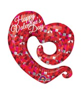 "31"" Happy Valentines Day Swirly Open Heart Balloon Packaged"