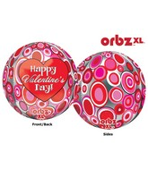 "16"" Orbz Happy Valentines Day Circles Balloon Packaged"
