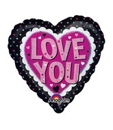 "18"" Holographic Love You Pink & Black Balloon"