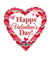 "9"" Airfill Only Happy Valentines Day Chevron Balloon"