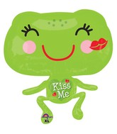 "22"" Junior Shape Kiss Me Froggie Balloon Packaged"
