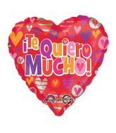"32"" Jumbo Te Quiero Mucho Hearts Balloon Packaged"