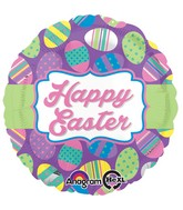 "18"" Easter Dots & Stripes Balloon Packaged"