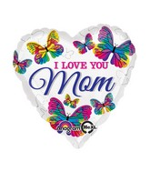 "18"" Love You Mom Butterflies Balloon Packaged"