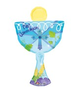 "31"" 1st Communion Blue Chalice Balloon Packaged"