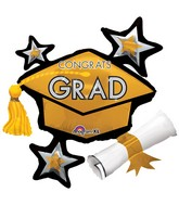 "31"" SuperShape Congrats Grad Gold Cluster Balloon"