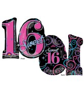"28"" Holographic SuperShape Sweet 16 Sparkle Balloon"