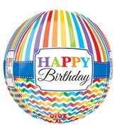 "16"" Orbz Happy Birthday Bright Stripe & Chevron Packaged"