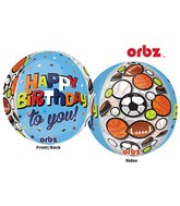 "16"" Orbz Multi-Film Happy Birthday Sports Balloon Packaged"