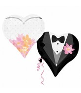 "30"" SuperShape Wedding Couple Hearts Balloon"