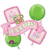 Bouquet Welcome Little One - Girl Balloon Packaged