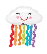 "30"" SuperShape Rainbow Cloud Balloon Packaged"