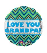 "18"" Love You Grandpa Chevron Balloon"