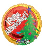 "18"" Feliz Navidad Tree Balloon Packaged"