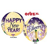 "16"" Orbz Happy New Year Cheers Balloon Packaged"