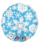 "18"" Blue & White Frosty Snowflakes Balloon Packaged"