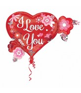 "27"" SuperShape I Love You Heart Flowers Balloon Packaged"