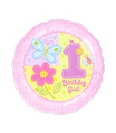 "18"" Hugs & Stitches 1st Birthday Girl Mylar Balloon"