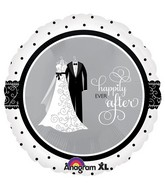 "18"" Black & White Wedding Mylar Balloon"