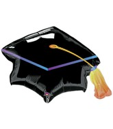 "31"" SuperShape Black Graduation Cap Balloon"
