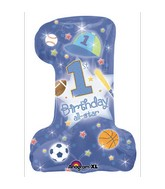 Super Shape First Birthday All-Star Boy Mylar Balloon