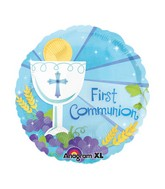 "18"" 1st Communion Blue Mylar Balloon"