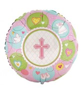 "18"" Sweet Christening Girl Mylar Balloon"