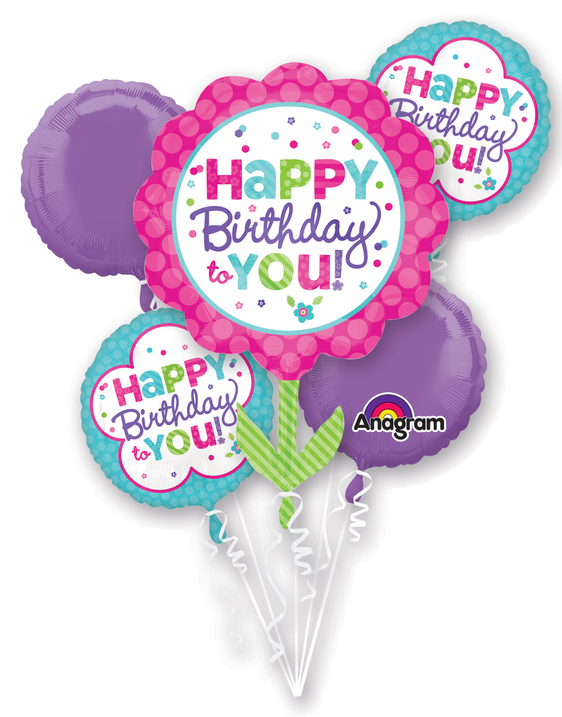 Bouquet Pink Teal Birthday Balloon Packaged