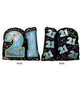 "27"" Jumbo Brilliant Birthday 21 Balloon Packaged"