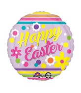 "18"" Happy Easter Stripes Balloon Packaged"