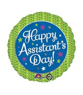 "18"" Assistant's Day Green & Blue Balloon Packaged"