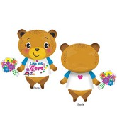 "29"" Jumbo Love You Mom Bear with Flowers Balloon"