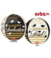"16"" Jumbo Orbz Congrats Grad Gold & Black Balloon Packaged"