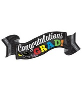 "40"" Jumbo Congratulations Grad Banner Balloon Packaged"