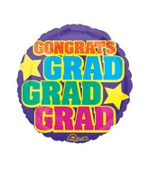 "18"" Junior Shape Grad, Grad, Grad Balloon Packaged"